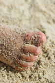 Female feet in the sand — Stock Photo