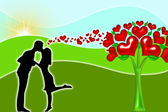 Silhouette of couples with hearts — Stock Photo
