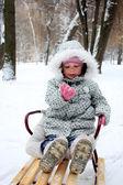Niño en un trineo — Foto de Stock