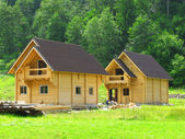 Construction of wooden houses — Stock Photo
