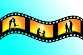 Silhouette of family on the film image — Stock Photo