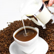 Pour milk in your coffee — Stock Photo