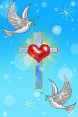 Ilustração de um cruzamento com uma pomba — Foto Stock