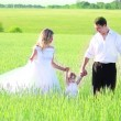 Couple with a baby in a field of wheat - 图库照片