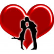 Foto Stock: Silhouette of couples with hearts illustration