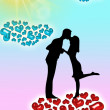 Silhouette of couples with hearts — Stock Photo #11690580