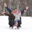 Family in the park in winter — Stock Photo #11690685