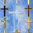 Illustration of a cross with rays — Stock Photo