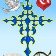 Illustration of a cross with a dove and the Bible - Foto de Stock  