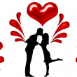 Stock Photo: Silhouette of couples with hearts illustration
