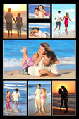 Collection of a couple in love on the shore of the sea — Stock Photo