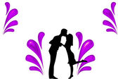 Silhouette of couples illustration — Stock Photo