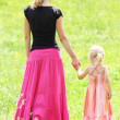 Young mother and her little daughter on the nature — Stock Photo