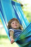 Little girl on a hammock — Stock Photo