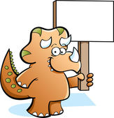 Triceratops Holding a Sign — Stock Vector