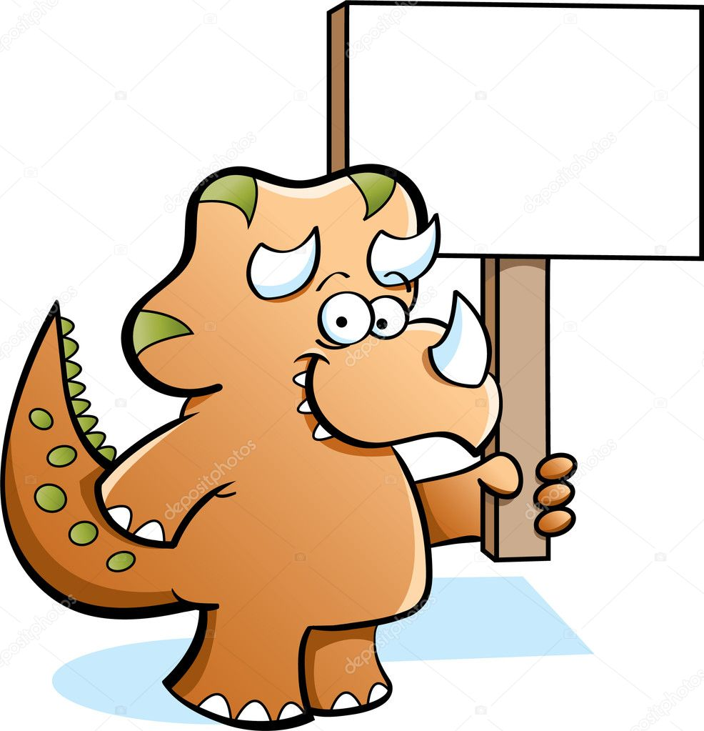 Cartoon illustration of a triceratops holding a sign — Stock Vector #11079760