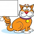 Stock Vector: Cat Holding Sign
