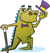 Dinosaur with a Top hat — Stock Vector