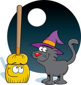 Witch's Broom and Cat — Stock Vector