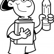 Cartoon illustration of a boy holding a pencil for a coloring page — Stockvectorbeeld