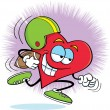 Vector - Heart playing football - Stock Vector