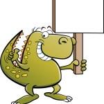 Cartoon illustration of a dinosaur with a sign — Stock Vector #11289741