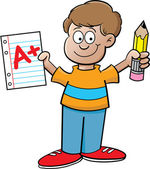 Cartoon illustration of a boy holding a paper and a pencil on a white background — Stockvektor