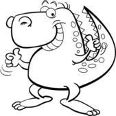 Cartoon illustration of a dinosaur giving thumbs up — Stock vektor