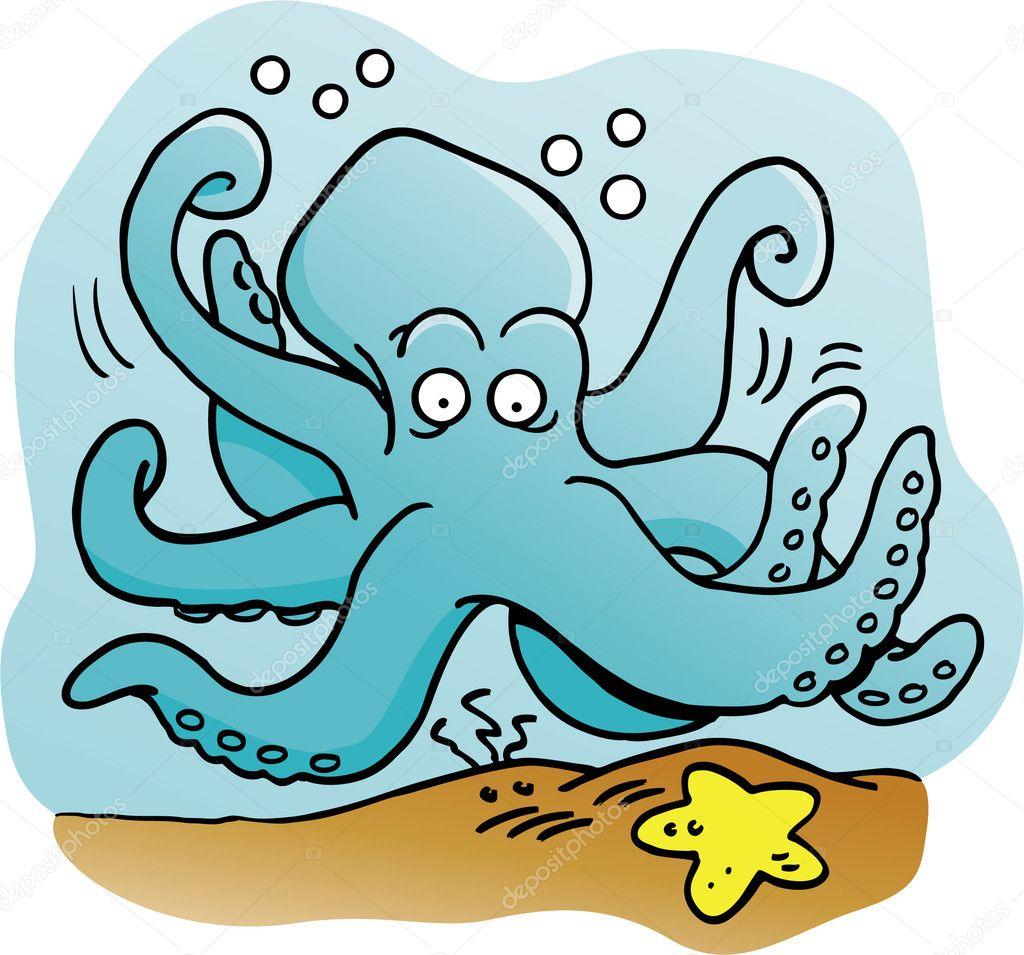 На рисованы осьминог