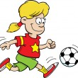 Royalty-Free Stock Vector Image: Cartoon illustration of a girl playing soccer