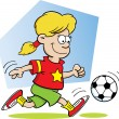 Cartoon illustration of a girl playing soccer — Stock Vector
