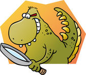 Cartoon illustration of a dinosaur with a magnifying glass — Stock Vector