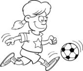 Black and white illustration of a girl playing soccer — Stock Vector