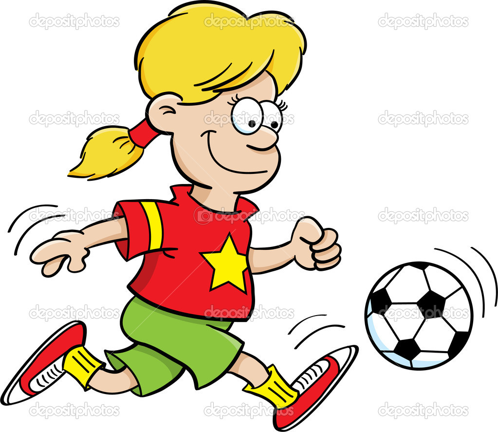 Cartoon illustration of a girl playing soccer — Stock Vector #11313738