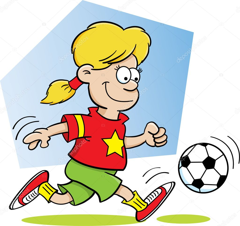 Cartoon illustration of a girl playing soccer — Stock Vector #11313747