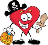 Cartoon Illustration of a Heart Dressed in a Pirate Costume — Stock Vector