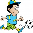 Boy Playing Soccer — Stock Vector