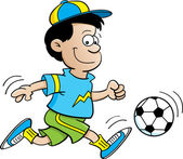 Boy Playing Soccer — Vector de stock