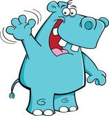 Waving hippo — Stock Vector