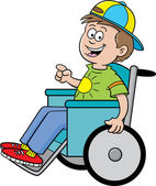 Boy in a wheelchair — Stock Vector