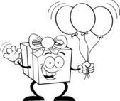 Gift holding balloons — Stock Vector