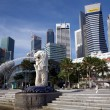 Singapore Business Center City and Lion Fountain - Stock Photo