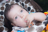 Bright closeup portrait of adorable baby — Stock Photo