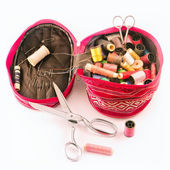 A small bag for storage of yarn and needles — Stock Photo