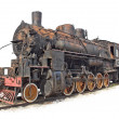 Isolated steam engine locomotive - Stockfoto