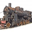 Isolated steam engine locomotive — Stockfoto