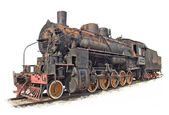 Isolated steam engine locomotive — Stock Photo