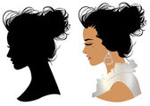 Beautiful girl head silhouette — Stock Vector