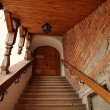 Historic stairway to castle - Stock Photo
