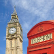 Telephone box and big ben — Stock Photo